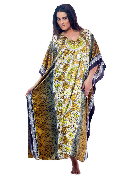 Women's Long Satin Caftan / Kaftan / Muumuu, Antique Forrestal Print