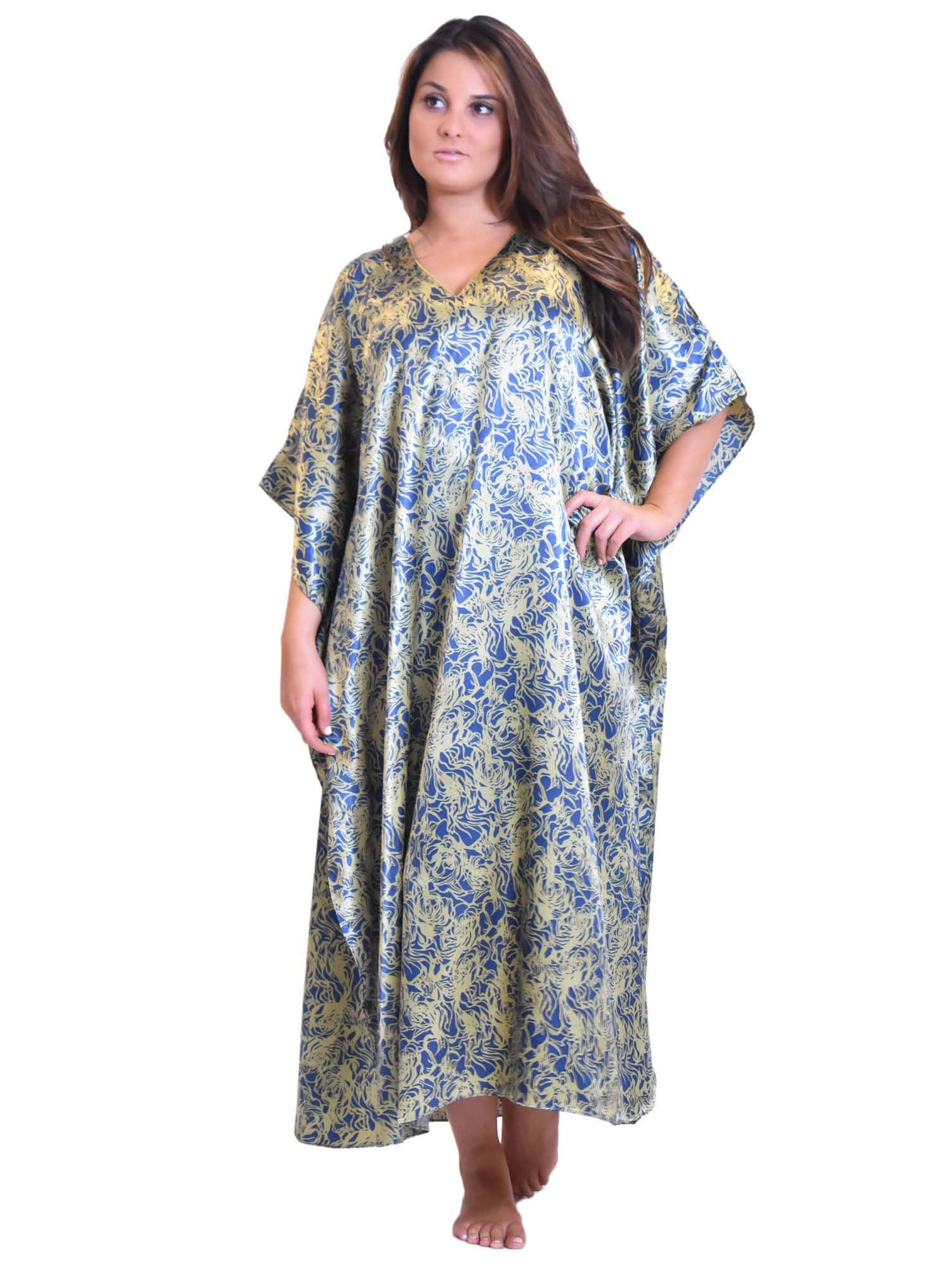 Women's Long Satin Caftan / Kaftan / Muumuu, Deep Seagrass Print