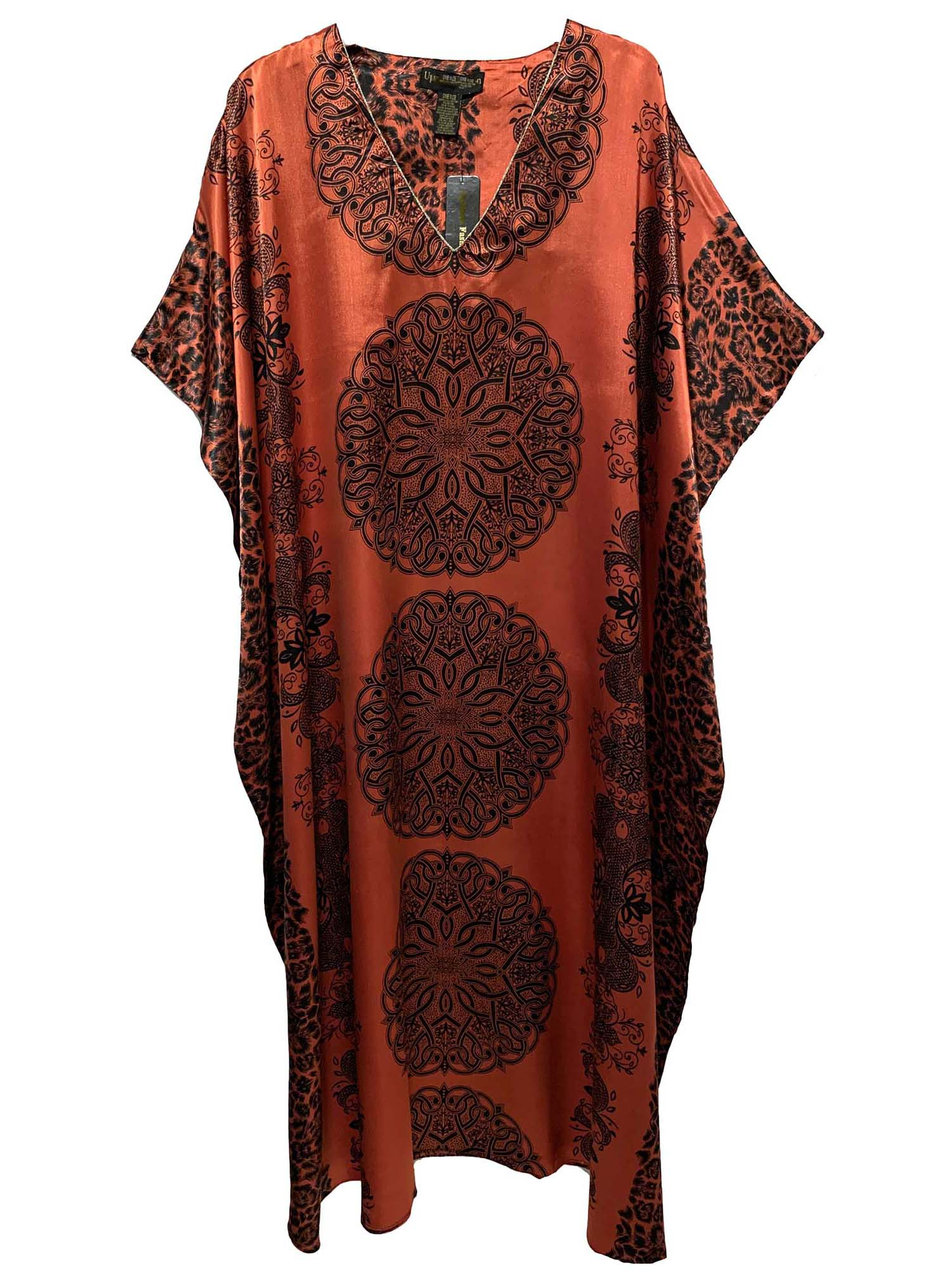 Women's Long Satin Caftan / Kaftan / Muumuu, Red Mandala Print