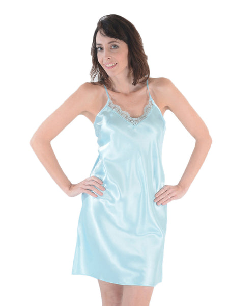 Women's Chemise, Satin with Lace
