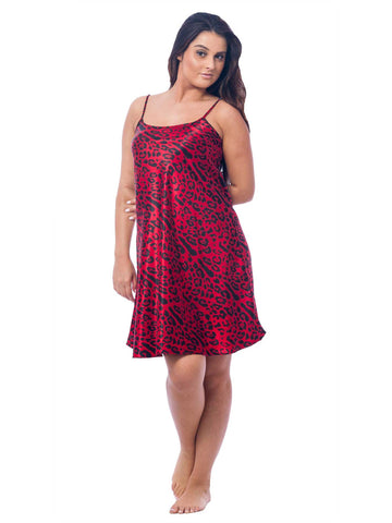 Women's Chemise, Satin, Red Animal Print
