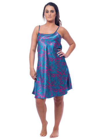 Women's Chemise, Satin, Electric Seagrass Print