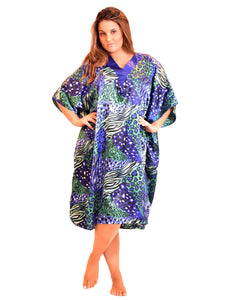 Women's Short Satin Caftan / Kaftan / Muumuu, Aquarius Cocktail Animal Print