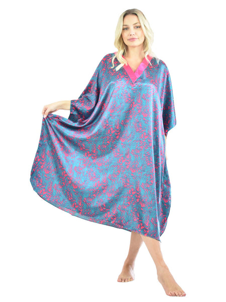 Women's Short Satin Caftan / Kaftan / Muumuu, Electric Seagrass Print