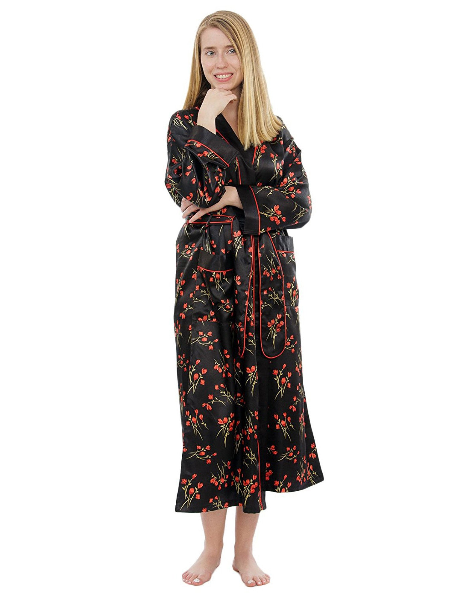 Women's Long Robe, Satin, Vintage Rose Print with Pockets