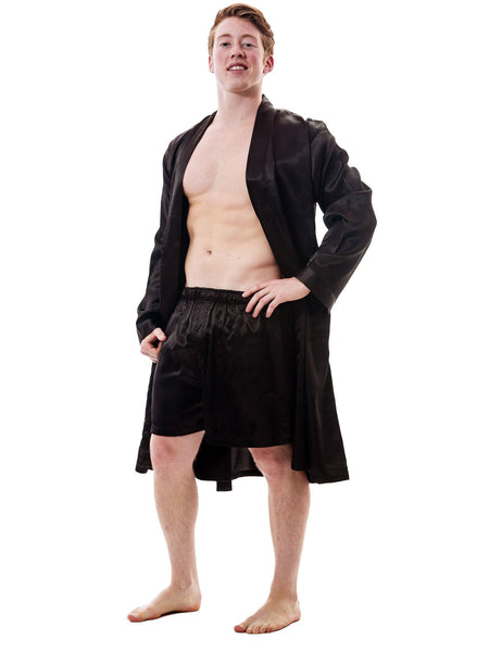 Men's Robe and Shorts / Boxers Set, Satin