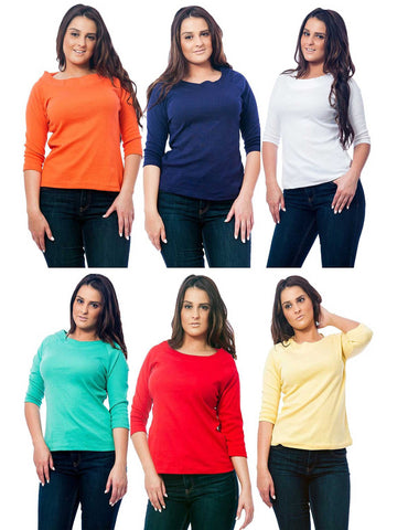 Women's Knit Boat Neck Top, 6-Piece Multicolor Combo