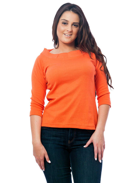 Women's Knit Boat Neck Top, 3-Piece Combo in Coral, Navy Blue, and White