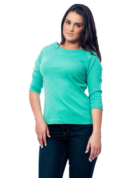 Women's Knit Boat Neck Top, 3-Piece Combo in Green, Red, and Yellow