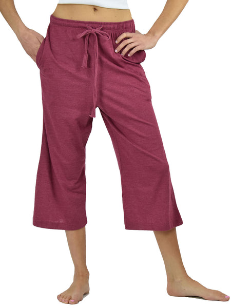 Women's Lounge Pants / Pajama Bottoms / Sleep Pants, 100% Cotton Knit, Cropped