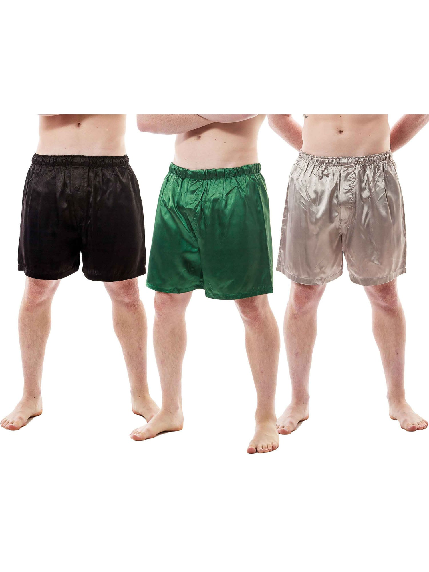 Men's Shorts / Boxers, Satin, 3-Piece Multicolor Combo Pack (MSC01-B)