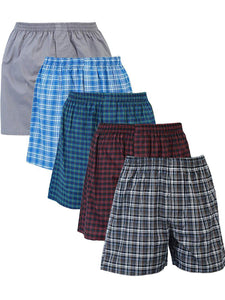 Men's Shorts / Boxers, Woven, 5-Piece Multicolor Combo Pack