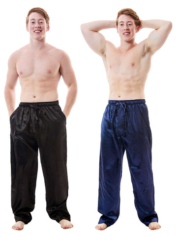 Men's Lounge Pants / Pajama Bottoms / Sleep Pants, Satin, 2-Piece Multicolor Combo in Black and Navy Blue