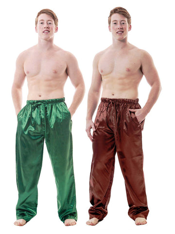 Men's Lounge Pants / Pajama Bottoms / Sleep Pants, Satin, 2-Piece Multicolor Combo in Brown and Green