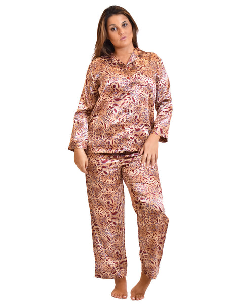Women's Pajama Set / Pajamas / Pyjamas / PJs, Satin, Pastel Animal Print