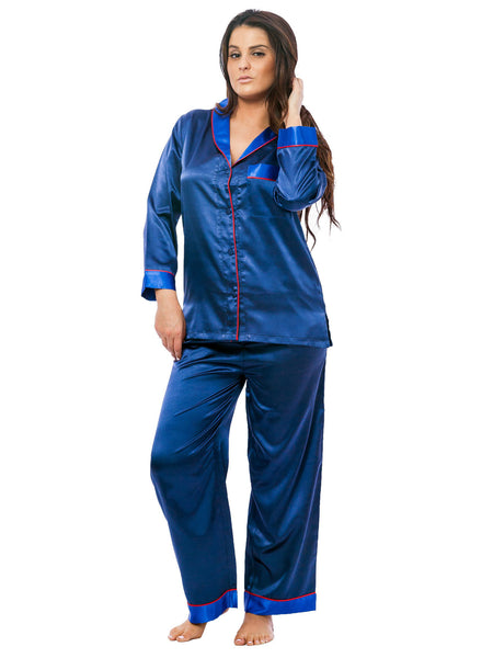 Women's Pajama Set / Pajamas / Pyjamas / PJs, Satin, Shawl Collar with Piping