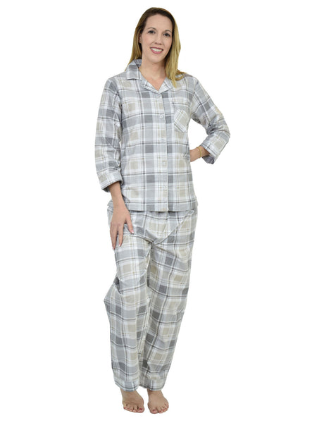 Women's Pajama Set / Pajamas / Pyjamas / PJs, 100% Cotton Flannel, Full Sleeve with Piping