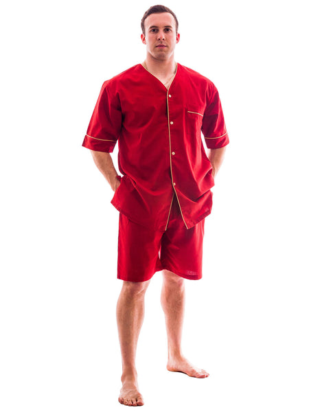 Men's Pajama Set / Pajamas / Pyjamas / PJs, Woven, Short Sleeve with Shorts