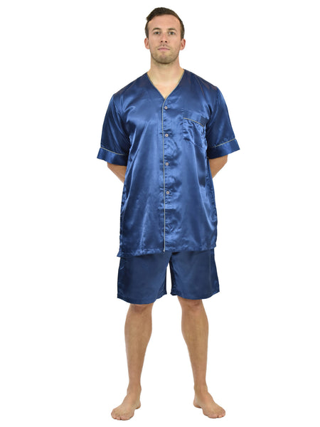 Men's Pajama Set / Pajamas / Pyjamas / PJs, Satin, Short-Sleeve V-Neck with Shorts