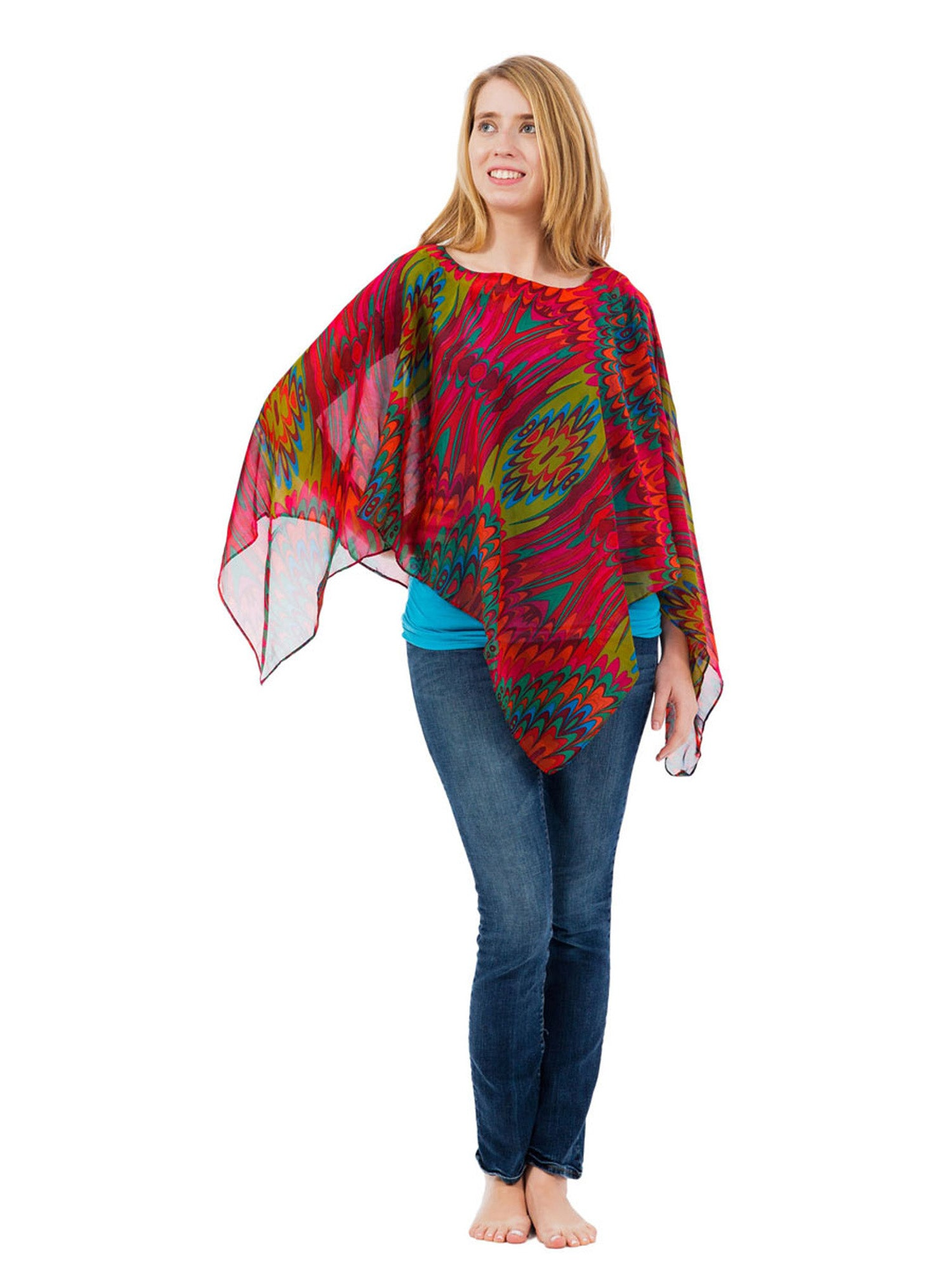 Women's Poncho, Marbled Forest Print