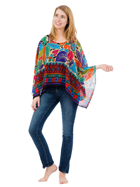 Women's Poncho, Geometric Pond Print