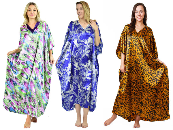 Women's Long Satin Caftans / Kaftans / Muumuus, Three-Piece Pretty Print Value Pack 14