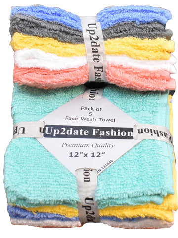 Cotton Washcloths / Face Towels, 10 Count, Multicolor