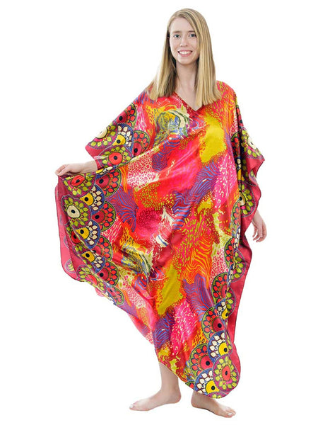 Women's Long Satin Caftan / Kaftan / Muumuu, Sunset Safari Print