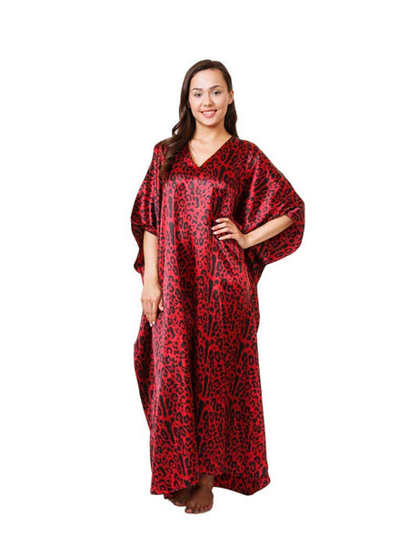 Women's Long Satin Caftan / Kaftan / Muumuu, Tiger Animal Print in Red