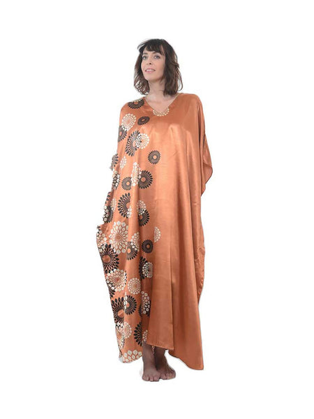 Women's Long Satin Caftans / Kaftans / Muumuus, Three-Piece Pretty Print Value Pack 15