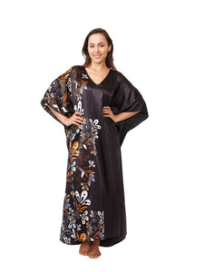 Women's Long Satin Caftan / Kaftan / Muumuu, Midnight Dream Floral Vine Print in Black