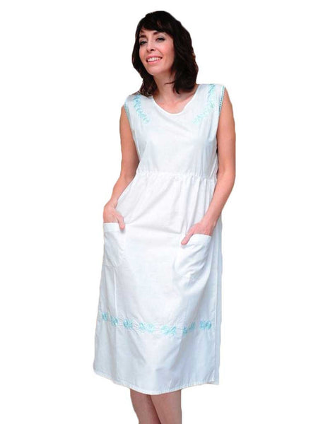 Women's House Dress with Embroidered Neckline