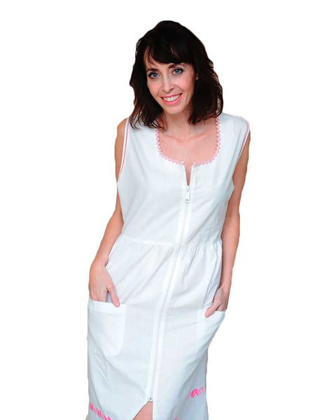 Women's House Dress with Narrow Lace Neckline