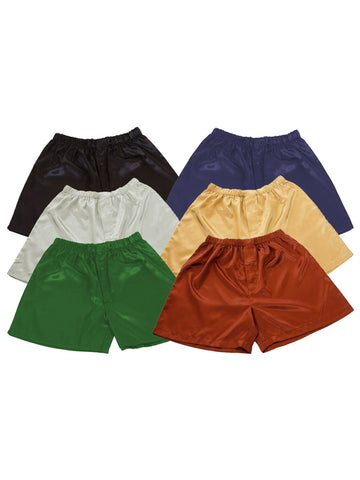 Men's Shorts / Boxers, Satin, 6-Piece Multicolor Combo Pack (MSC-6B01)