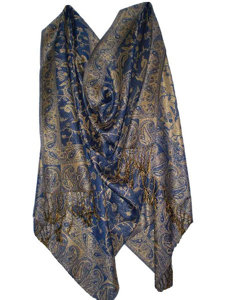 Women's Pashmina Scarf / Wrap / Shawl in Blue and Gold Paisley