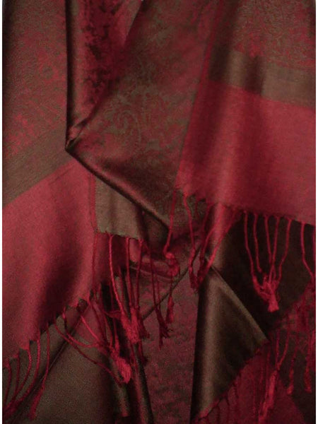 Women's Pashmina Scarf / Wrap / Shawl in Burgundy Paisley