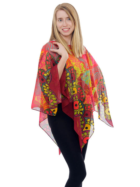 Women's Poncho, Sunset Safari Print