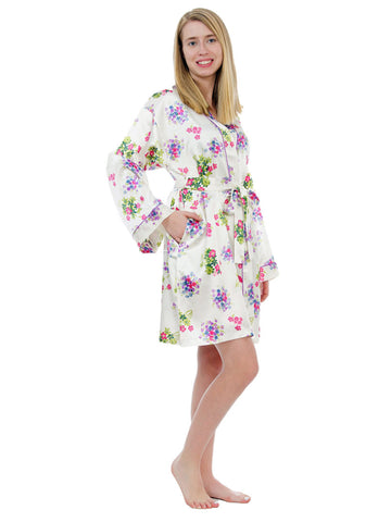Women's Short Robe, Satin, Various Prints