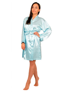 Women's Short Robe, Satin, Solid Colors