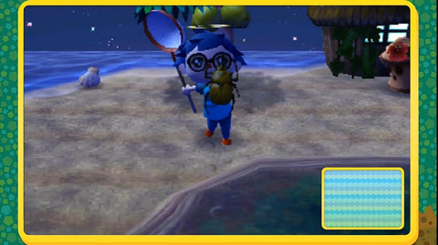 Catching a beetle in Animal Crossing: New Leaf at night