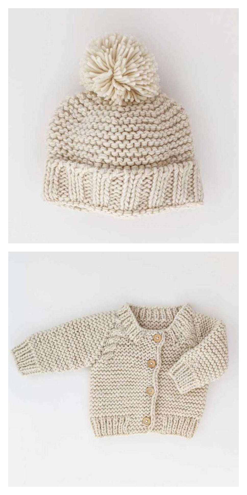 Garter Stitch Beanie and Cardigan Set