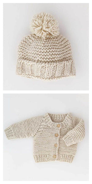 Open image in slideshow, Garter Stitch Beanie and Cardigan Set