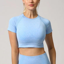 Load image into Gallery viewer, Cloud Short-Sleeve Cropped Top - Saints Active