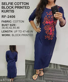 Selfie Cotton Block Printed Kurtis Vol 1