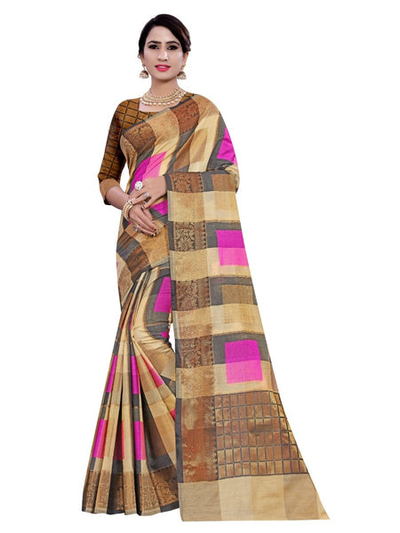 Women's Cotton, Jacqaurd Saree With Blouse (Multi Color, 5-6 Mtrs)