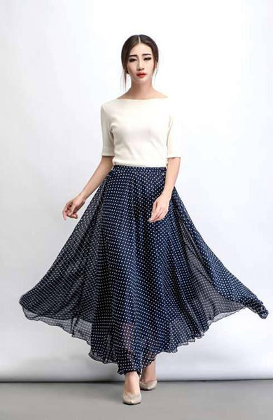 Women's Trendy Polka Dot Georgette Skirts Model-4