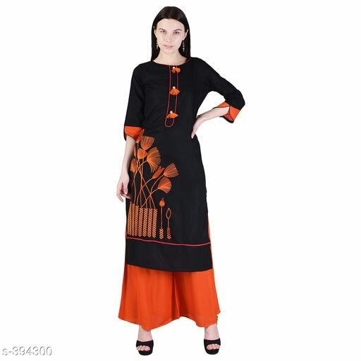 Ladies Tassel Work Embroidered Rayon Kurtis Vol 1