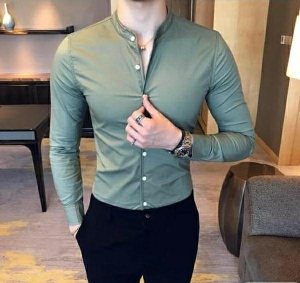 Satin Cotton Solid Slim Fit casual Shirt