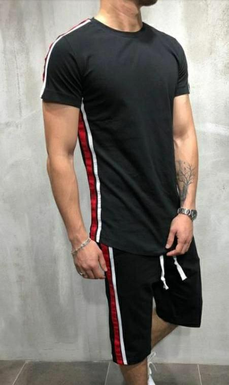 Men Black Polyknit Active Tshirt with Shorts