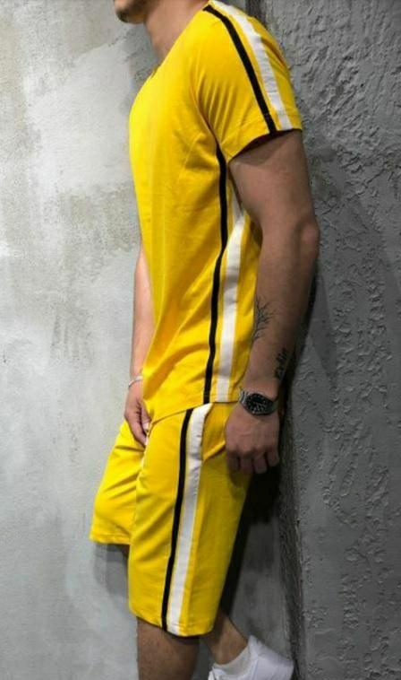 Men Yellow Polyknit Active Tshirt with Shorts